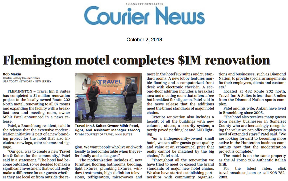 courier newspaper screenshot featuring Travel Inn and Suites article
